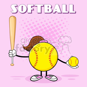 softball girl faceless cartoon mascot character holding a bat and ball vector illustration with pink halfone background and text softball clipart. Royalty-free image # 400138