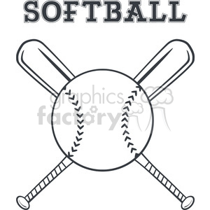 softball over crossed bats logo design vector illustration with text isolated on white background clipart. Commercial use image # 400158