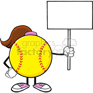softball girl faceless cartoon mascot character holding a blank sign vector illustration isolated on white background clipart. Royalty-free image # 400168