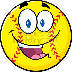 happy softball cartoon character vector illustration isolated on white background clipart. Royalty-free image # 400198