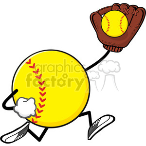 softball faceless player cartoon mascot character running with glove and ball vector illustration isolated on white background clipart. Royalty-free image # 400208