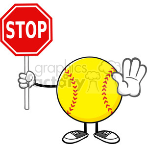 softball faceless cartoon mascot character gesturing and holding a stop sign vector illustration isolated on white background clipart. Royalty-free image # 400218