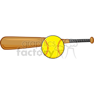 cartoon softball sports ball bat