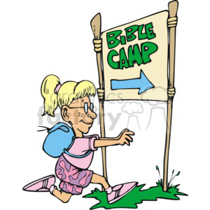 cartoon girl running to bible camp