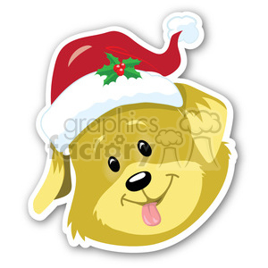christmas dog head with shadow sticker clipart. Commercial use image # 400391