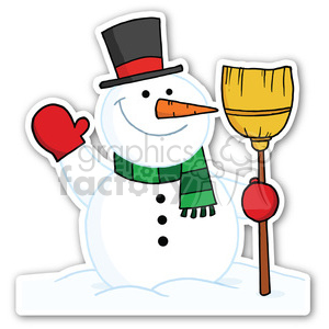 snowman with broom sticker clipart. Royalty-free image # 400406