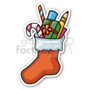 christmas stocking v2 sticker clipart. Royalty-free image # 400412