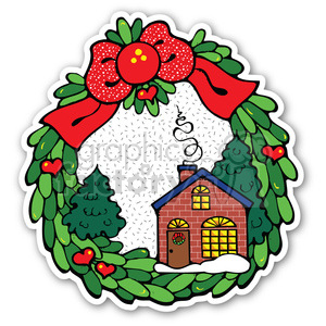 christmas wreath v2 sticker clipart. Royalty-free image # 400422