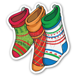 christmas stocking sticker clipart. Commercial use image # 400441