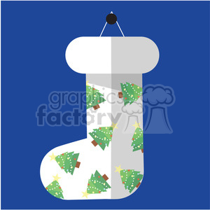 white christmas stocking on blue square vector flat design clipart. Commercial use image # 400495