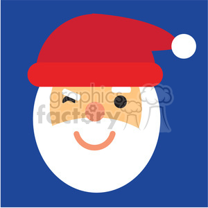 santa head winking icon vector art clipart. Commercial use image # 400515