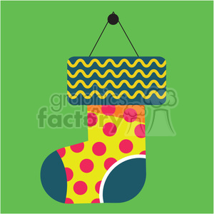 cartoon christmas stocking on green square with christmas trees vector flat design