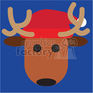 reindeer with santa hat on blue square icon vector art clipart. Royalty-free image # 400535