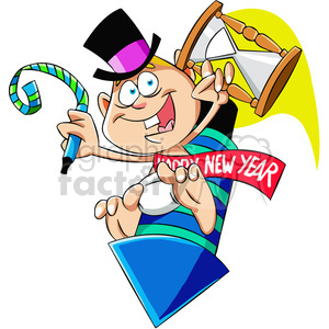 baby new year holding an hourglass vector art