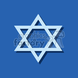 Jewish Star of David flat vector art on blue background clipart. Royalty-free image # 400585