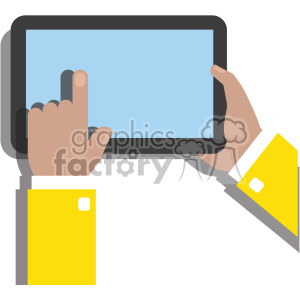 hands holding ipad surface device flat design vector art no background clipart. Royalty-free image # 400635