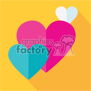 three hearts flat design vector icon art clipart. Royalty-free image # 402294