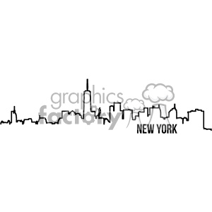 new york city skyline vector art outline clipart. Royalty-free image # 402334