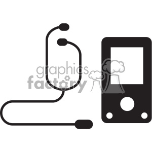 device with headphones vector icon art clipart. Commercial use image # 402395