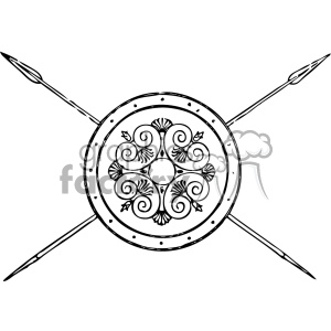 1900s Grecian shield and spears vintage 1900 vector art GF clipart. Commercial use image # 402492
