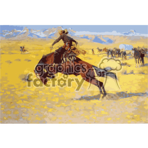 frederic remington vector art cowboy and bronze vector art GF clipart. Royalty-free image # 402657