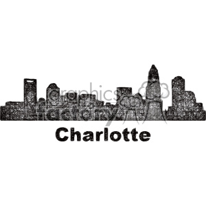 black and white city skyline vector clipart USA Charlotte clipart. Commercial use image # 402662