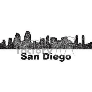 black and white city skyline vector clipart USA San Diego clipart. Commercial use image # 402682