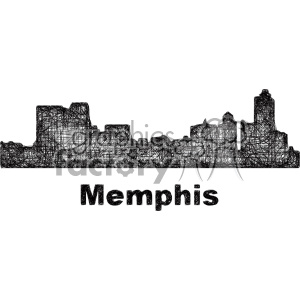 black and white city skyline vector clipart USA Memphis clipart. Commercial use image # 402702