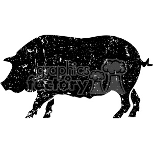 distressed pig vector art clipart. Commercial use image # 403004