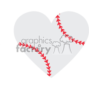 baseball heart design svg cut file vector