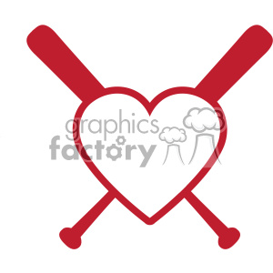 baseball bat heart love monogram svg cut file vector clipart. Royalty-free image # 403064