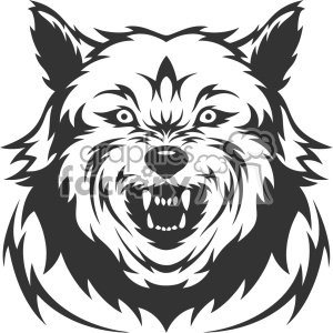 mean wolf growling head vector art clipart. Royalty-free image # 403144