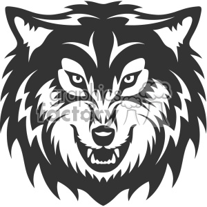 wolf growling head vector art clipart. Commercial use image # 403154