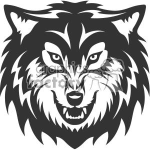 wolf growling head vector art