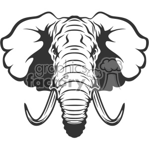 Royalty Free Cartoon Elephant Head Vector Art Clipart