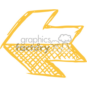 sketched left yellow arrow vector art clipart. Commercial use image # 403305