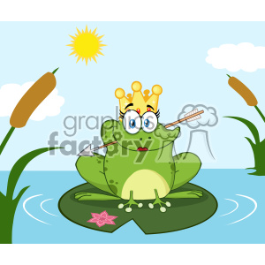 Princess Frog Cartoon Mascot Character With Crown And Arrow Perched On A Pond Lily Pad In Lake Vector With Background clipart. Royalty-free image # 403355