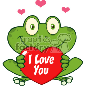 Cute Frog Cartoon Mascot Character Holding A Valentine Love Heart Vector With Text I love You clipart. Commercial use image # 403360