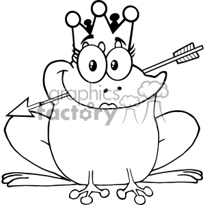 10657 Royalty Free RF Clipart Black And White Princess Frog Cartoon Mascot Character With Crown And Arrow Vector Illustration
