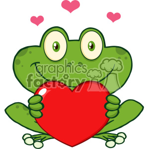 10655 Royalty Free RF Clipart Cute Frog Cartoon Mascot Character Holding A Valentine Love Heart Vector Illustration