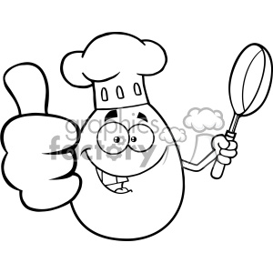 10963 Royalty Free RF Clipart Black And White Chef Egg Cartoon Mascot Character Showing Thumbs Up And Holding A Frying Pan Vector Illustration