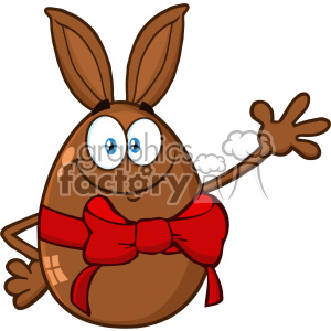 10983 Royalty Free RF Clipart Smiling Chocolate Egg Cartoon Mascot Character With A Rabbit Ears And Red Ribbon Waving For Greeting Vector