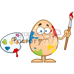10941 Royalty Free RF Clipart Confused Egg Cartoon Mascot Character Spattered and Holding A Paintbrush And Palette Vector Illustration