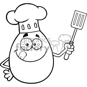 10961 Royalty Free RF Clipart Black And White Chef Egg Cartoon Mascot Character Licking His Lips And Holding A Spatula Vector Illustration
