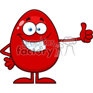 10951 Royalty Free RF Clipart Smiling Red Easter Egg Cartoon Mascot Character Showing Thumbs Up Vector Illustration clipart. Royalty-free image # 403400