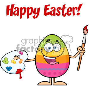 10950 Royalty Free RF Clipart Happy Colored Easter Egg Cartoon Mascot Character Holding A Paintbrush And Palette Vector With Text Happy Easter