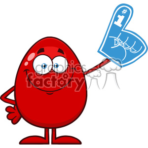 10952 Royalty Free RF Clipart Red Easter Egg Cartoon Mascot Character Wearing A Foam Finger Vector Illustration