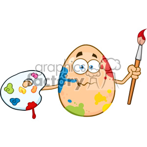 10976 Royalty Free RF Clipart Confused Egg Cartoon Mascot Character Spattered and Holding A Paintbrush And Palette Vector Illustration