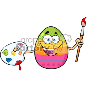 10977 Royalty Free RF Clipart Happy Colored Easter Egg Cartoon Mascot Character Holding A Paintbrush And Palette Vector Illustration
