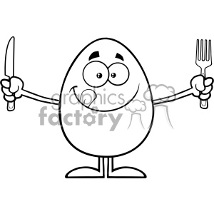 10937 Royalty Free RF Clipart Black And White Cute Egg Cartoon Mascot Character Licking His Lips And Holding Silverware Vector Illustration